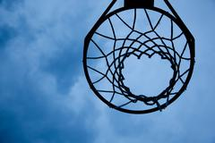 basketball hoop with sky background - stock photo