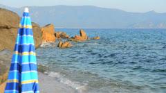 Sunshade on the beach Stock Footage