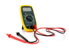 multimeter with cables - stock photo