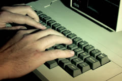 Typing on an Old Apple 2 Computer NTSC 4x3 Version Stock Footage