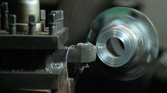 Close up turnning lathe Stock Footage
