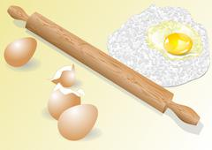 meal and eggs - stock illustration