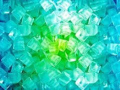 Green blue ice cubes Stock Photos