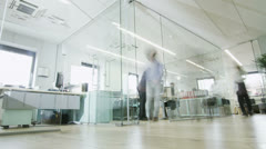 Time lapse of creative young professionals at work in busy modern office Stock Footage