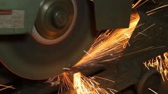 closed up metal sawcutting a steel - stock footage