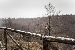 snowy fence - stock photo