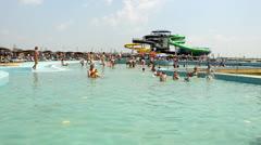 Swimming pool in aqua park Stock Footage