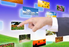 hand selecting images streaming from the deep - stock illustration