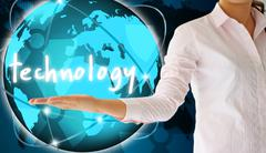 Holding technology in his hand  , creative concept Stock Illustration