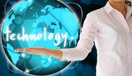 Stock Illustration of holding technology in his hand  , creative concept