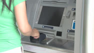 Stock Video Footage of Client with Bank Machine