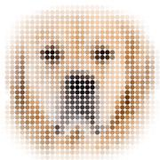 circle pixels image of a dog with white vignette - stock illustration