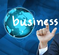 business man hand contact of bussinet button - stock illustration