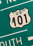 Stock Photo of green us 101 south highway sign