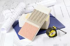 Piece of styrofoam   with plaster, glue, net, polystyrene, thermal protection Stock Photos