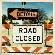 Detour and road closed signs Stock Photos
