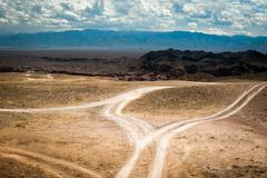 empty rural road going through prairie under cloudy sky in charyn canyon - stock photo