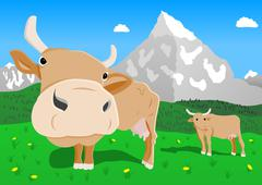 Cow in the alps Stock Illustration
