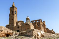 Belchite village destroyed in a bombing during the spanish civil war Stock Photos