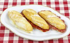 Sausage sandwich, typical basque cap. Stock Photos