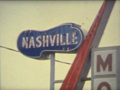 Super 8 USA Nashville motel sign abstract handshot Stock Footage