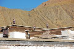 Tibetan roof decorate Stock Photos