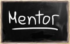 """mentor"" handwritten with white chalk on a blackboard Stock Illustration"