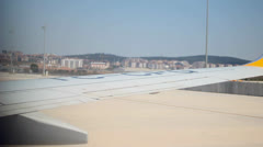View of Air Plane Wing During Take Off Stock Footage
