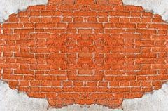 Old red brick wall disintegrated Stock Photos