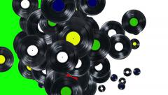 Falling records (with alpha channel) Stock Footage