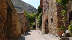 Street of Castelnou, Beautiful village in south France Stock Footage