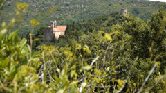 Pyrenees, views from Castelnou. South France Stock Footage