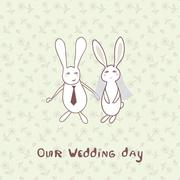 Bridal shower invitation with two cute rabbits in bride and groom costumes - stock illustration