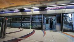 DUBAI - APRIL 25: Dubai Metro With Passengers. Stock Footage