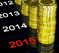 coins on 2015 showing financial visions - stock illustration