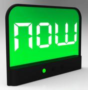 now clock showing quick urgency for action - stock illustration