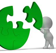 completing jigsaw showing solution completing or achievement - stock illustration