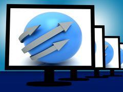 arrows around ball on monitors shows circular direction - stock illustration