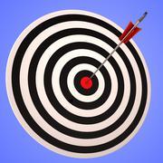 bulls eye target shows precise winning strategic goal - stock illustration