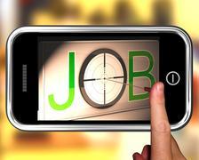 Job on smartphone showing target employment Stock Illustration