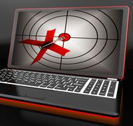 Arrow aiming on laptop shows efficient shot Stock Illustration