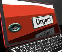 urgent file on laptop shows priority documents - stock illustration