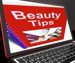 Stock Illustration of beauty tips on laptop showing makeup hints