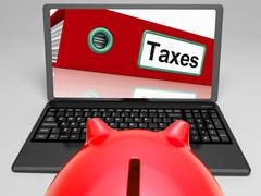 Taxes file on laptop shows taxation Stock Illustration