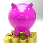 piggybank on coins showing savings - stock illustration