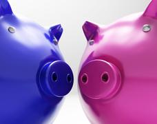 Piggy duo shows investing finances together Stock Illustration