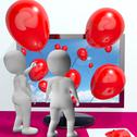 Stock Illustration of balloons coming from screen show online celebrations