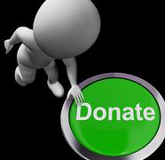 donate button shows charity donations and fundraising - stock illustration