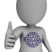 made in england stamp on man shows english products approved - stock illustration