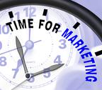 Stock Illustration of time for marketing message shows advertising and sales